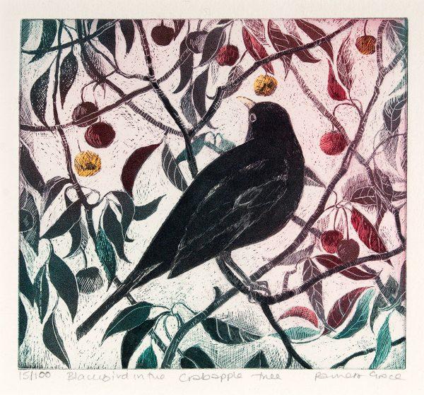 Blackbird in the Crabapple Tree